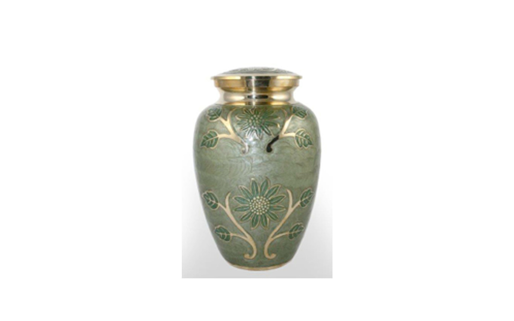 Green Garden   This urn is made of Solid Brass, Painted with a Green Enamel, and has a Threaded Lid. This urn holds 219 Cu. Inches, up to 219 lbs. $145