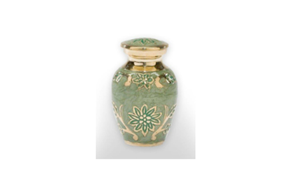 Green Garden    This urn is made of Solid Brass, Painted with a Green Enamel, and has a Threaded Lid. This urn holds 3 Cu. Inches, up to 3 lbs. $70