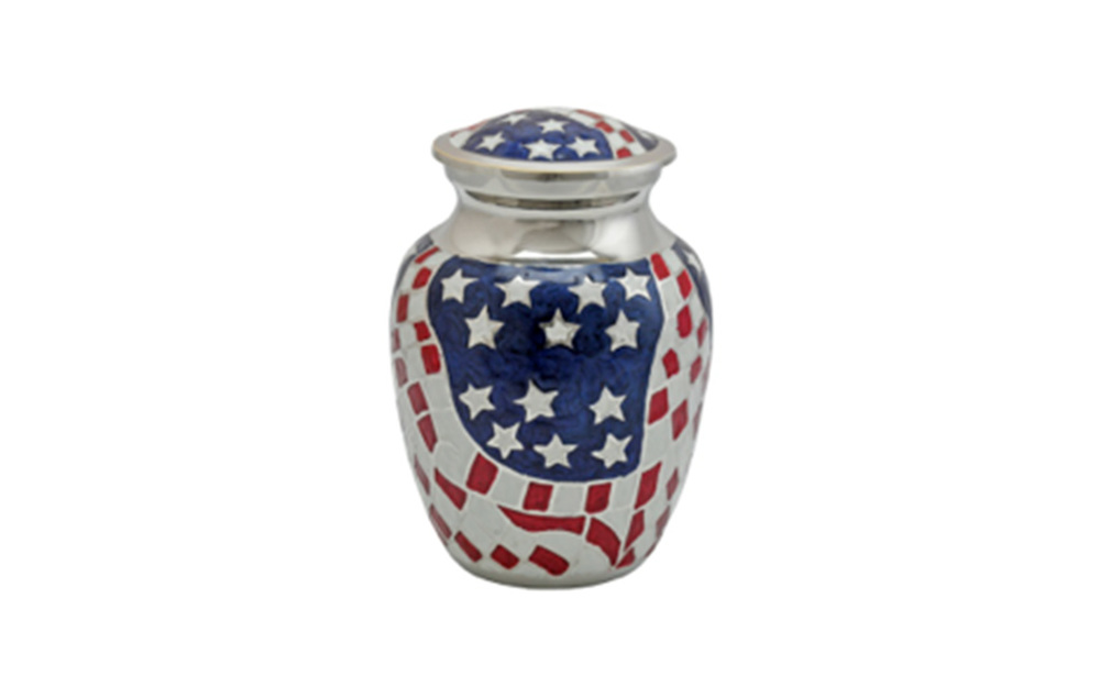 "American Flag  Made of Solid Brass, this patriotic urn measures 6"" H, holding 68 Cu. Inches, up to 68 lbs. $75"