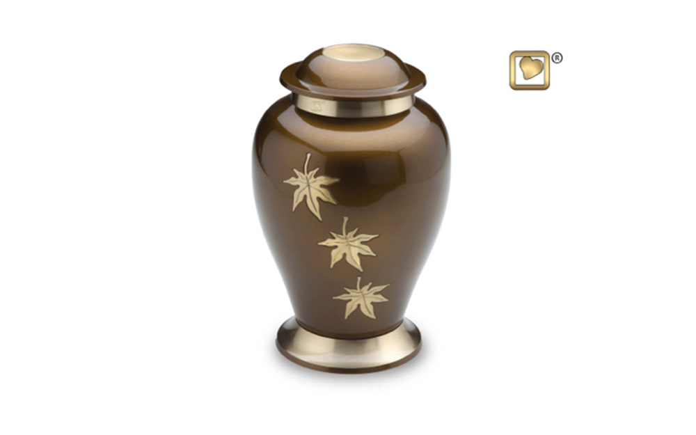 "Falling Leaves Urn Made of Solid Brass with a Bronze Finish, measuring 10"" high, 200 Cu. inches, up to 195 lbs., $135"