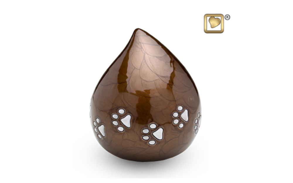 "Love Drop Urn Made of Alloy, comes in Bronze (shown), Pearl, and Black, measuring 6"" high, 60 Cu. inches, up to 55 lbs., $125"