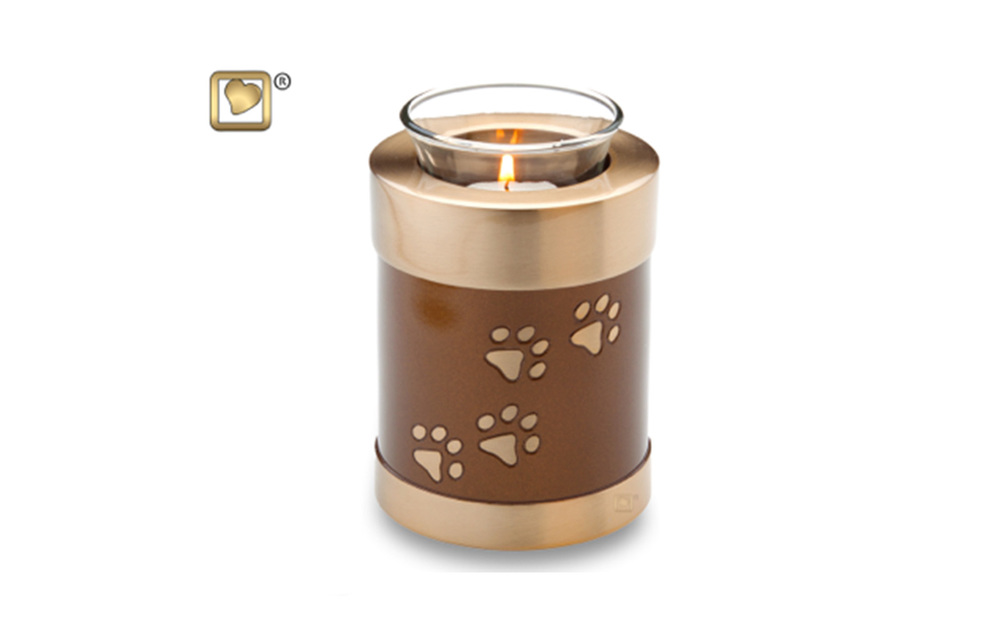 "Tealight Bronze Urn Made of Solid Brass with a brushed Antique Solid Brass Finish, comes in both Bronze (shown) and Black Colors, measuring 5"" high, 18 Cu. inches, up to 13 lbs. Glass insert included, Candle not included,  $98 This tealight urn also comes in a taller model in Black only, measuring 10.5"" high, 58 Cu. inches, up to 53 lbs. Glass insert included, Candle not included,  $110"