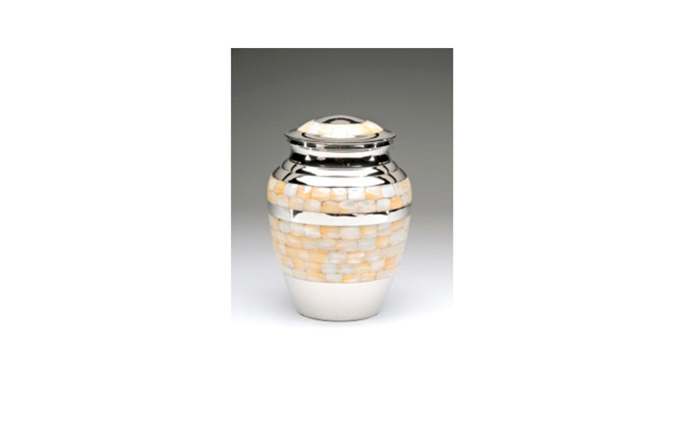 "Mother of Pearl Nickel Plated Brass   This Nickel Plated Brass urn comes with a Beautiful Mother of Pearl Inlay, Threaded Lid, and a Felt-Lined Base. Comes in XLarge, Large, Medium, Small, and Keepsake (see keepsakes) sizes.    XLarge:    Measures 7"" D x 9.5"" H, 220 Cu. Inches, up to 215 lbs.,  $160    Large:  Measures 5.5"" D x 8.5"" H, 110 Cu. Inches, up to 105 lbs.,  $125    Medium:  Measures 7.25""H, 70 Cu. Inches, up to 65 lbs.,  $85    Small:    Measures 5"" H, 40 Cu. Inches, up to 35 lbs.,  $72"