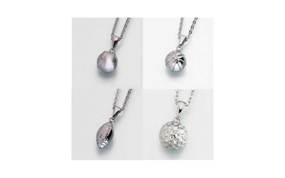 "Stainless Steel Baseball, Basketball, Football and Golfball w/Chain Urn Pendants These pendants all come with a 24"" box stainless steel chain. Both the baseball, basketball and golfball measure 1/2""H x 1/2""W and the football measures 5/8""H x 3/8""W. They all have a threaded opening in the back to fill with ashes or hair of your beloved pet. $215"