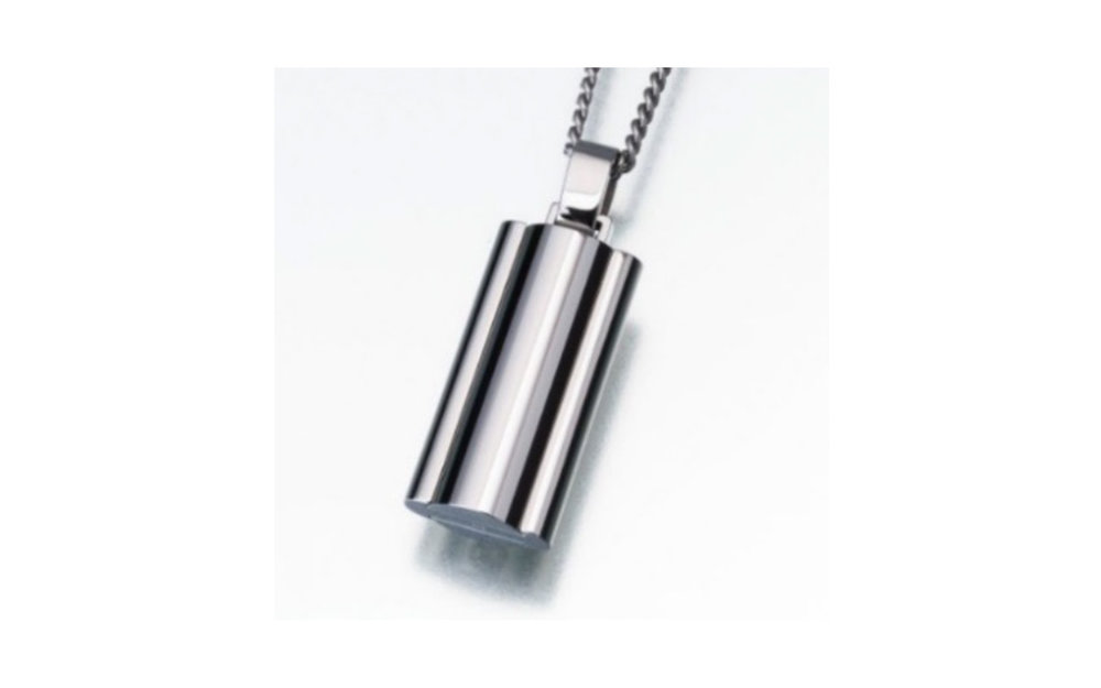 "Stainless Steel Narrow Flask Urn Pendant w/Chain This pendant measures 15/16""H and 1/2""W and comes with a stainless steel 24"" chain. Has a threaded opening to allow you to fill with ashes or hair of your beloved pet. $395"