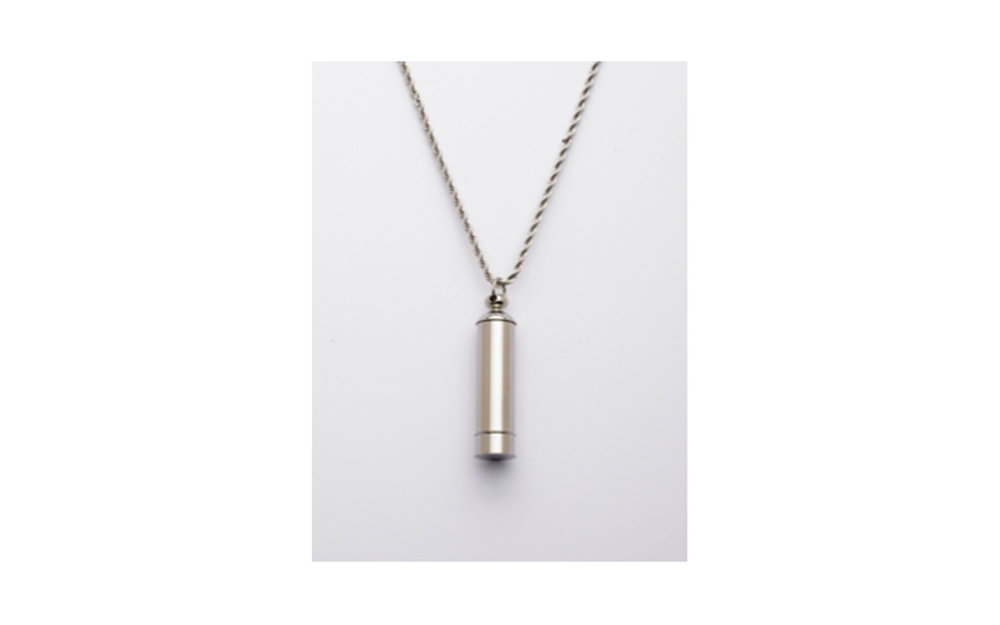 "Stainless Steel Long Cylinder Urn Pendant w/Chain This pendant measures 1-5/8""H x 3/8""W and comes with a stainless steel 24"" chain. Has a threaded opening at the top and bottom to allow you to fill with ashes or hair of your beloved pet. $75"