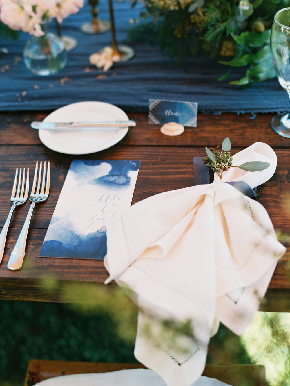 Custom menus, place cards; as featured in The Knot winter 2016 issue