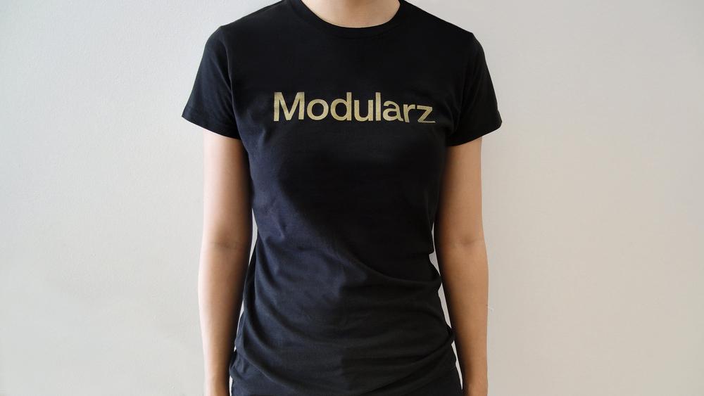 1c1e15117 Modularz female Tshirt ash black w/ gold printing (metallic) — Modularz