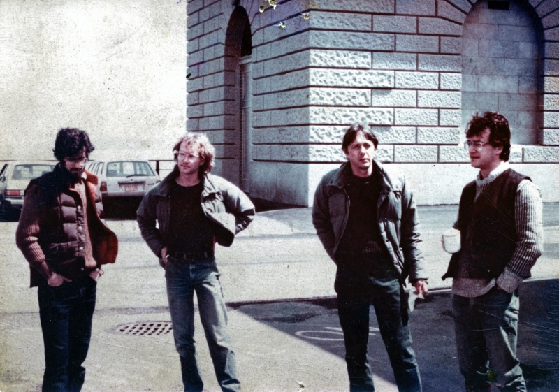 Left to Right: George Pratt, Dan Green, Jeff Jones and Bernie Wrightson. Circa 1985. Landscape painting at the New York Reservoir in upstate New York. Not pictured are Kent Williams, Jon J Muth and Allen Spiegle.