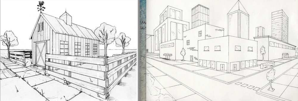 in your sketchbooks try to create a drawing using the rules of 2 point perspective; eg. could be one building (like the barn on the left side above or could be several in a cityscape like the image on the right)