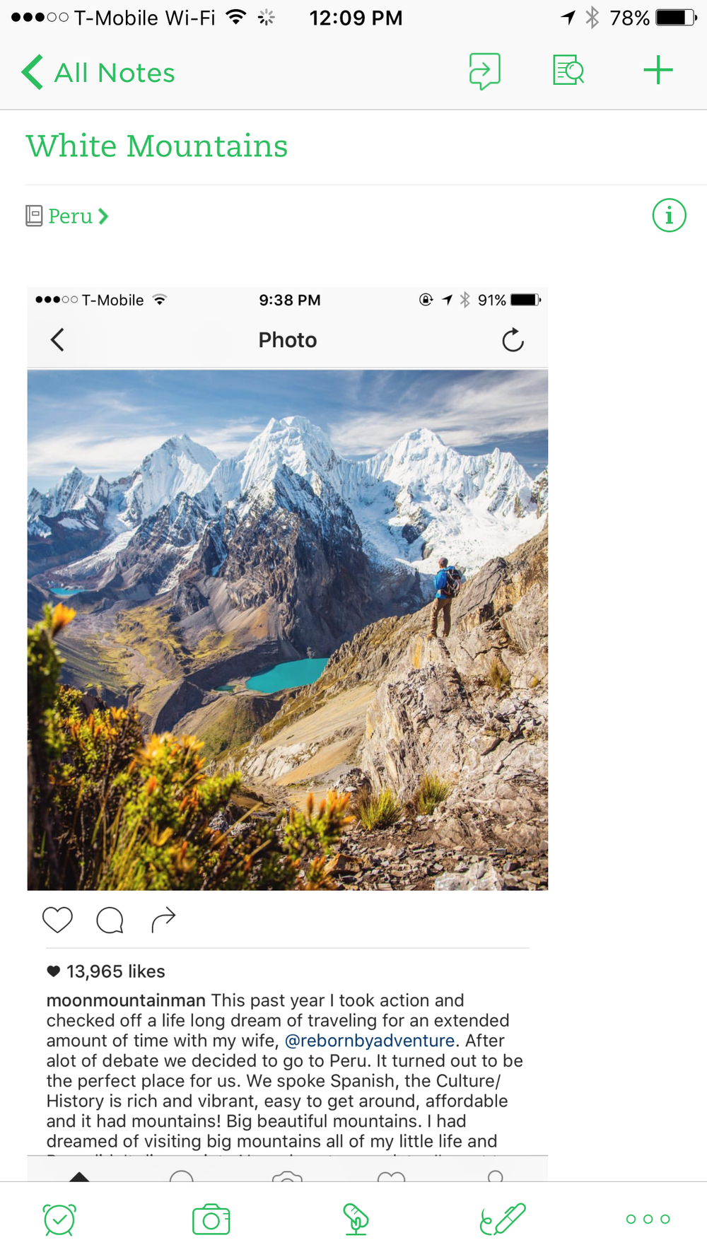 Screenshot of Instagram user @moonmountainman, follow him to see some epic locations!