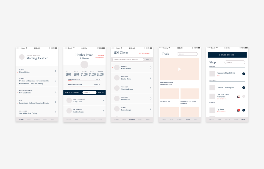 These future vision wireframes outline the ideal state app. Using the main themes and features that came up in affinity mapping we developed 5 tabs.