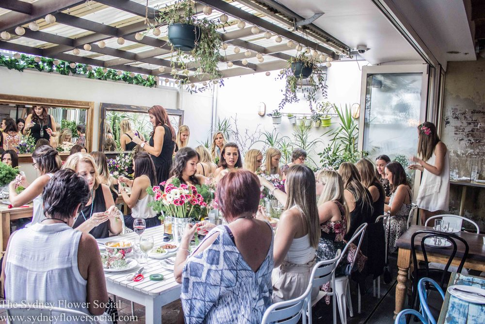 Hens night flower crown workshop in Sydney