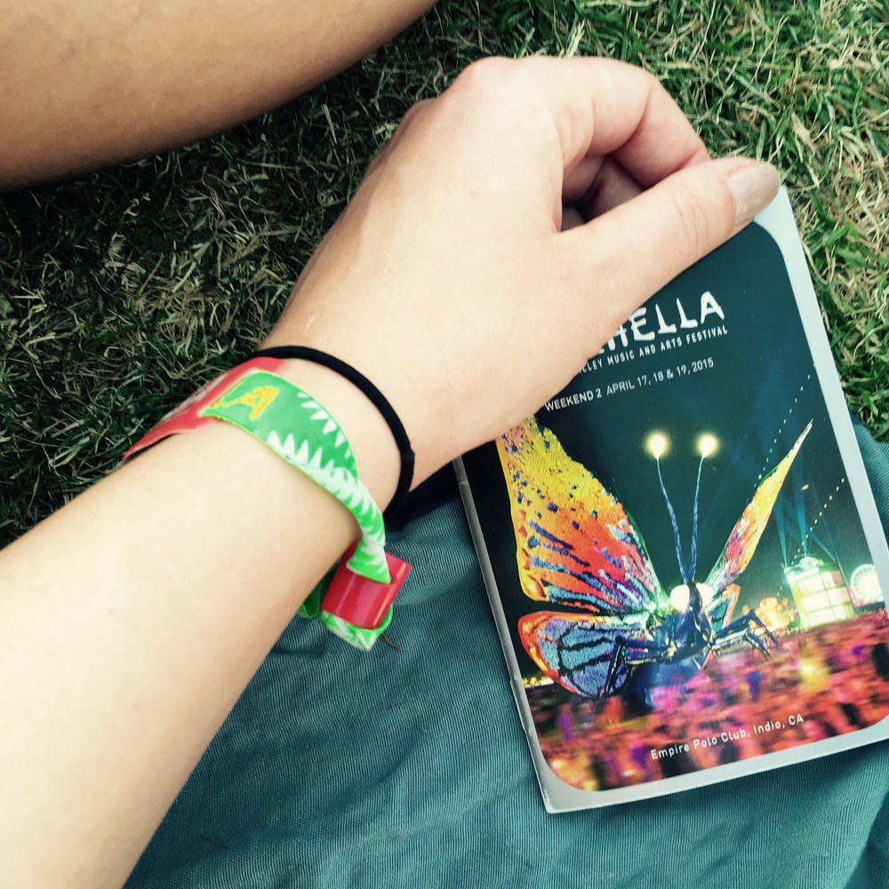 my wristband and our coachella guide book
