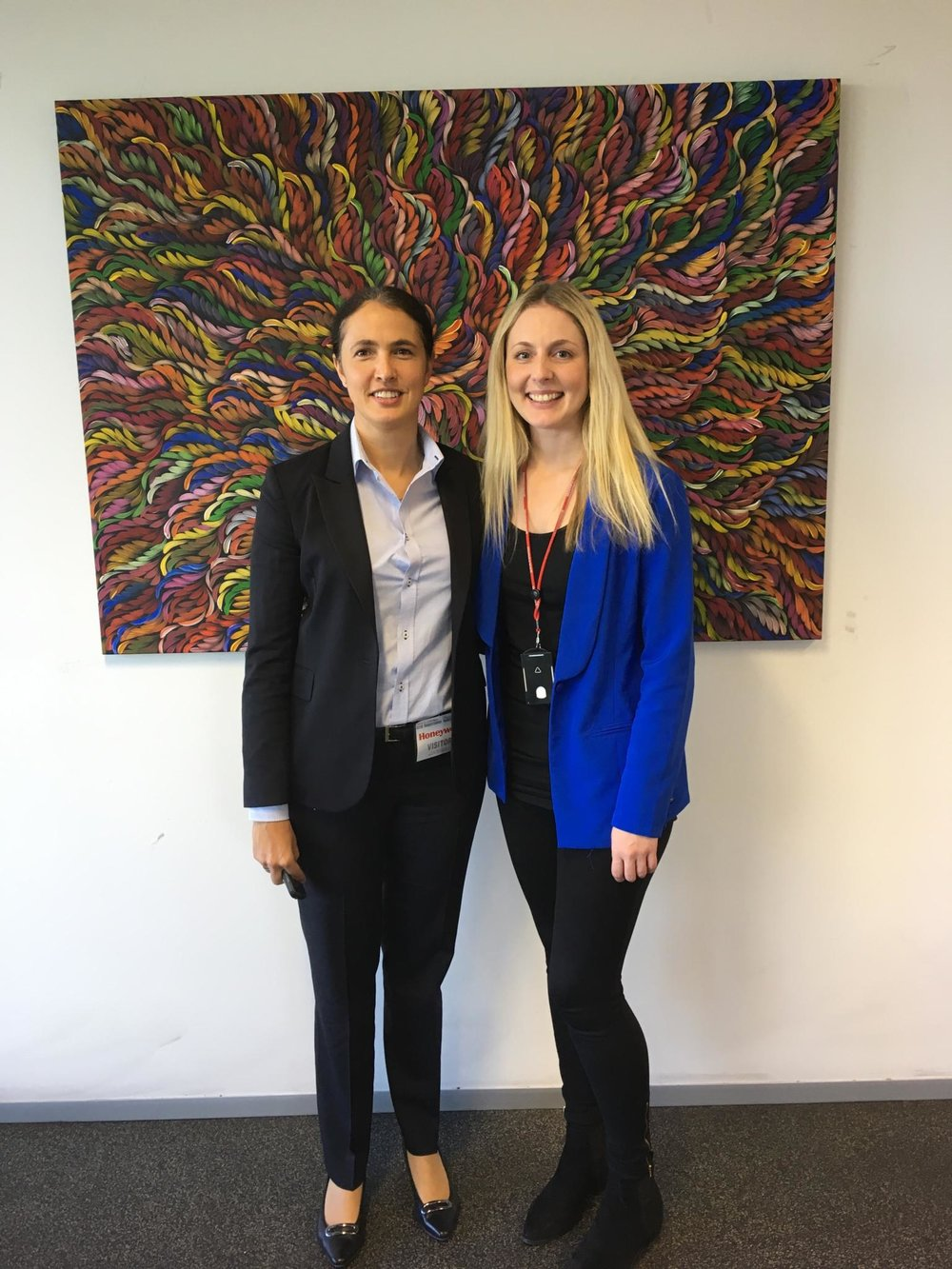 """Launch of Honeywell's RAP in 2017 with fabulous artwork """"Bush Medicine Leaves"""" by Selina Numina purchased by Honeywell for their RAP. Honeywell bought similar artworks for their offices across Australia."""