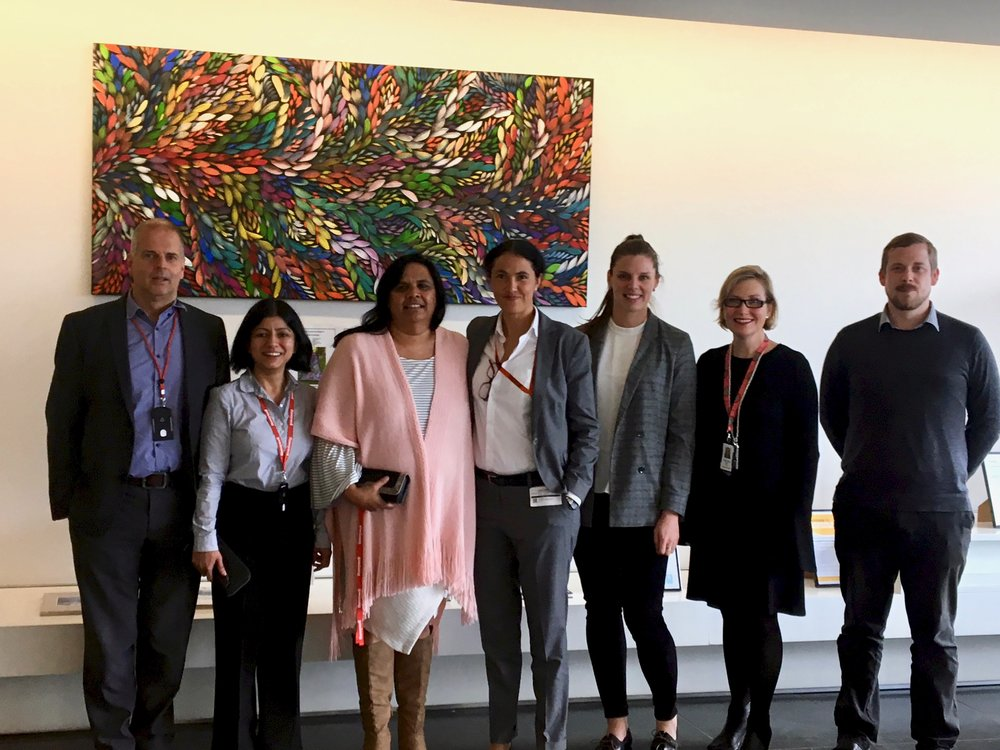 At Honeywell's North Ryde office in 2018 discussing future direction for attraction, selection and retention with a focus on early careers From left: Chris Mansfield, Namrita Sandhu (Peoplescout), Tracey Shilingsworth, Lindsay Stanford (Blakworks), Fiona Kerby, Caroline Bosch, Henry Grey (Peoplescout)