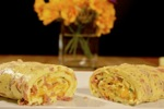 Rolled Ham and Cheese Omelette