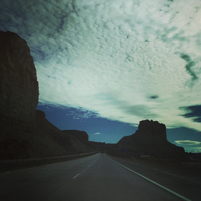 Road trip update 2: Utah is behind us, Wyoming almost through. As a city boy, I'm still amazed at how empty it is. #roadtrip #utah #wyoming #sky