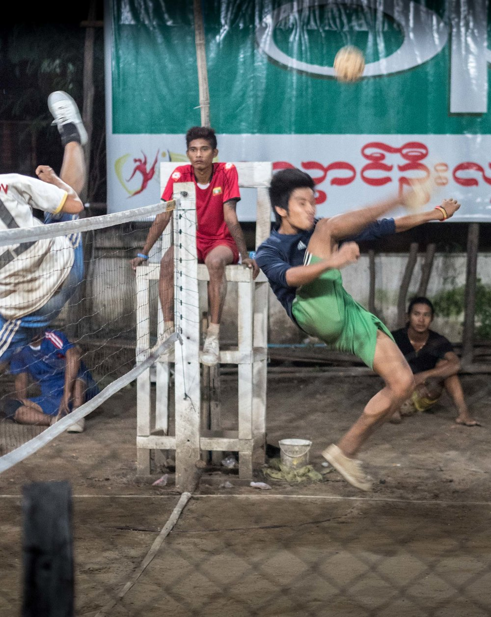 The Bagan night time foot-volley ball league..... Flexible... Impressive!!