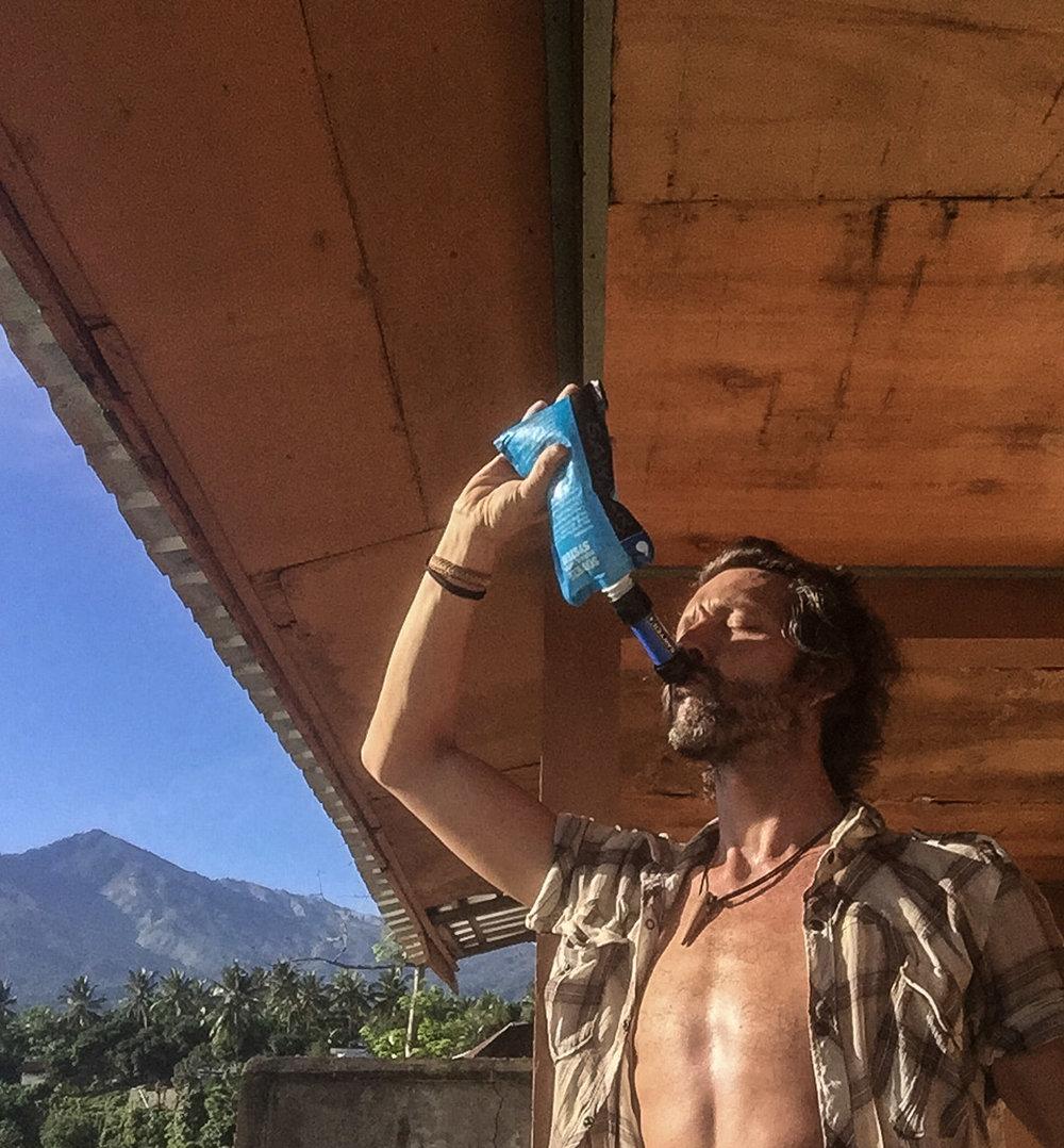 Guzzling my morning rehydration