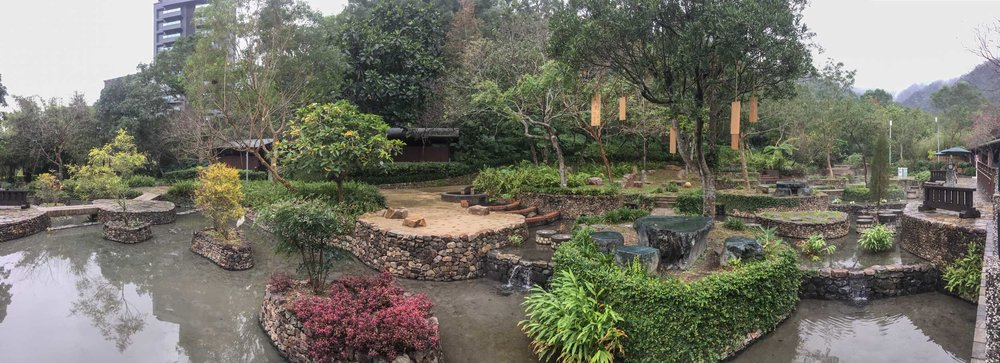 The gardens leading to the hot springs.... Pretty.... Miserable light though... Grim day!