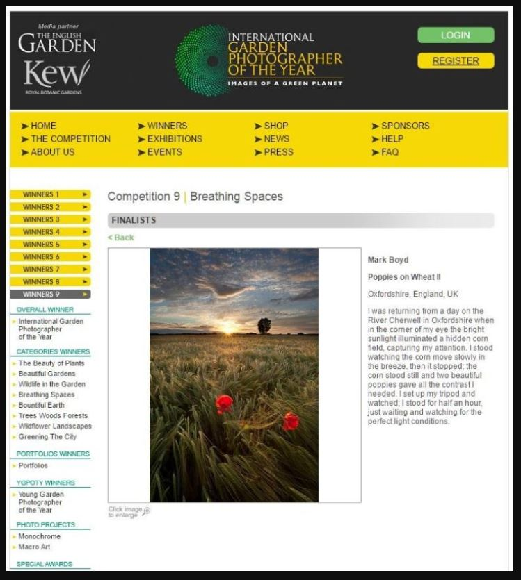 International Garden Photographer of the Year 2015 - During 2015 an image of two dancing poppies in a golden wheat field was adorned with an IGPOTY's finalist spot in the 'Breathing Spaces' category of International Garden Photographer of the Year.