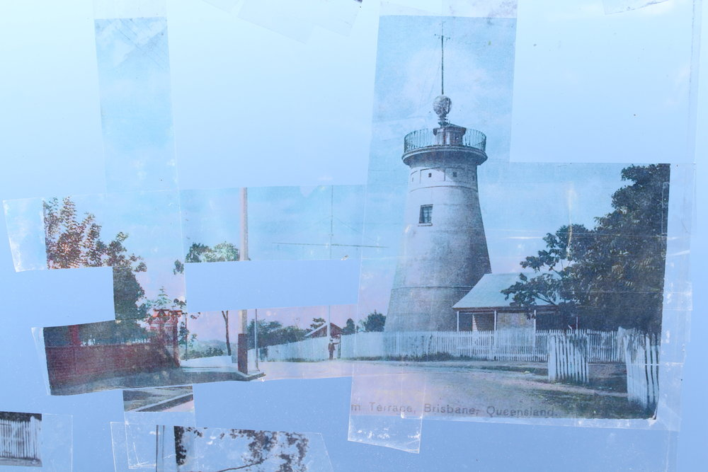 The beginnings of a collage project for the QLD State Archives. Working with old photos is a very tangible way to processes my place in the physical and cultural past. I'll be photographing glass plate transfers in situ to bring this one together. The site of the Old Windmill at Springhill has a sordid history and a bodeful air - definitely worth some contemplation.  June 2017.