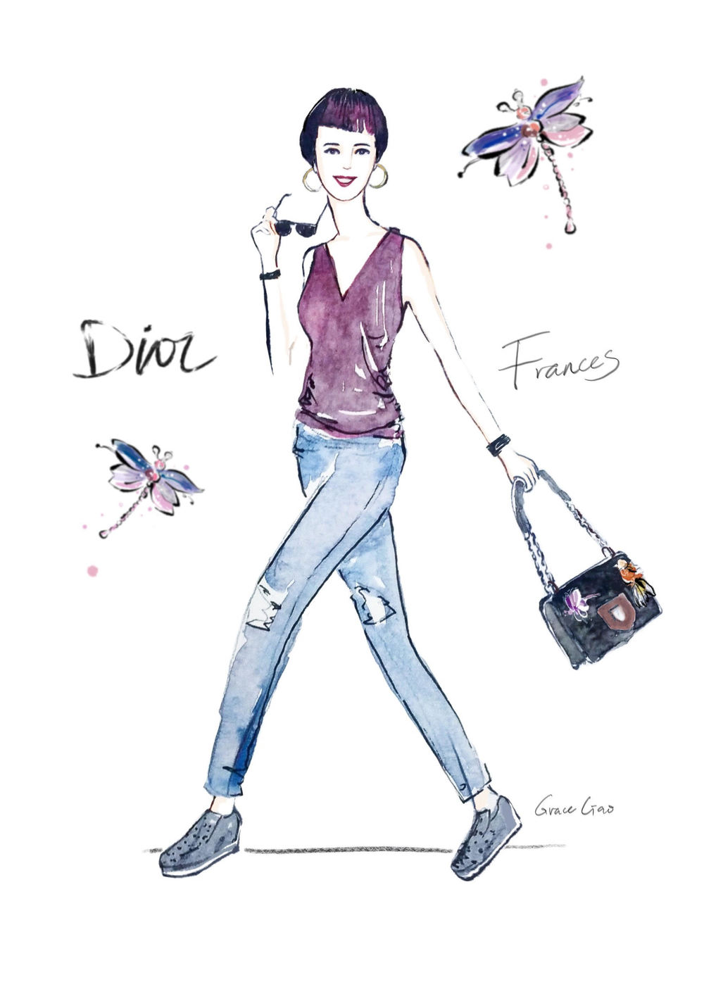 grace-ciao-fashion-illustrator-flower-artist-dior-diorama-club-bag-luxury-event-launch-1