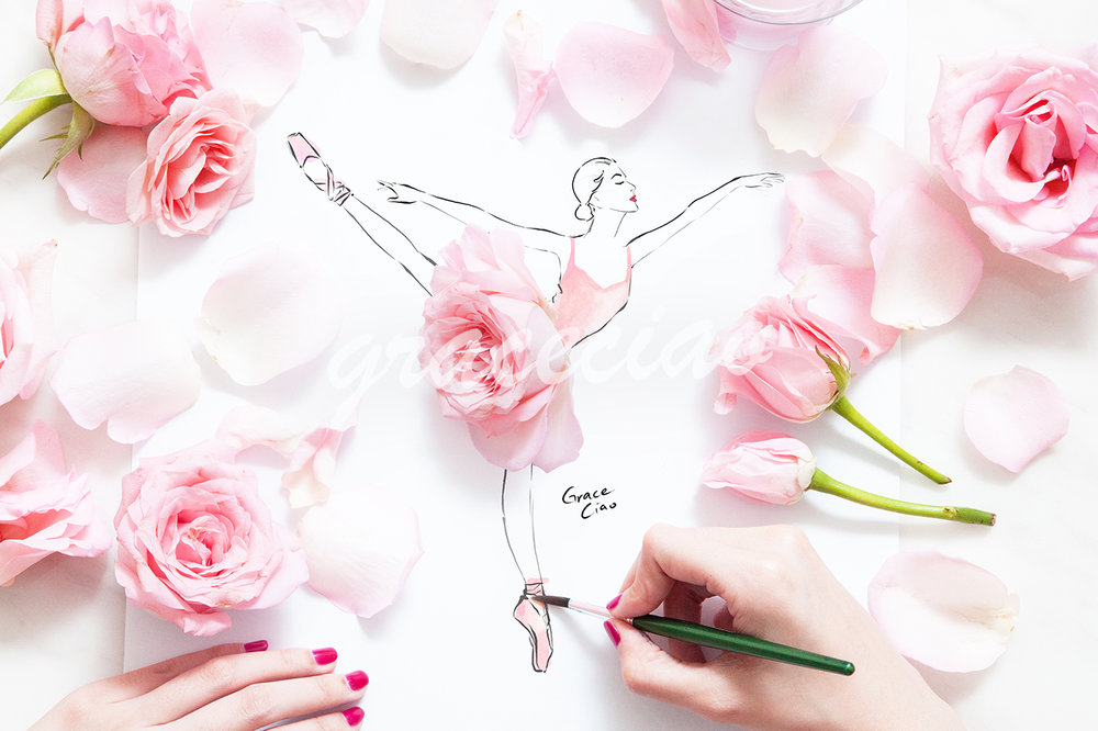 Ballerina on Pirouette - illustrated with fresh pink roses
