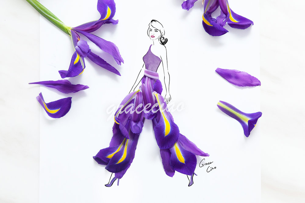 Confident walk - illustrated with iris flower petals