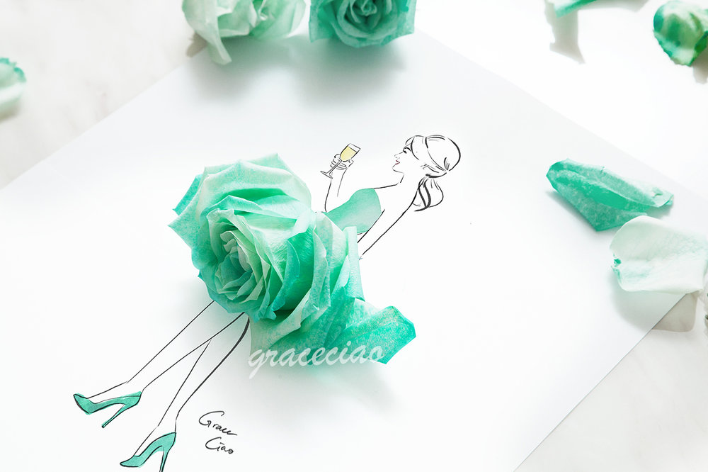 Carefree weekend girl - illustrated with teal roses