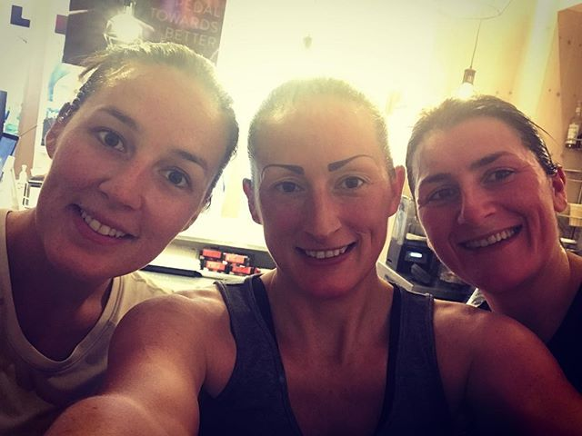 Live at the @pelotoncycle studio #NYC. @nicola.m.fraser 400th Ride @mskatiebyrne 1st Ride 🚴🏻‍♀️ My first studio ride and #5months for BabyZ2 💦👏🏻💪🏻👍🏻 #sisters ❤️