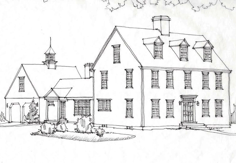 England House Front Elevation : The cape colonial exterior trim and siding