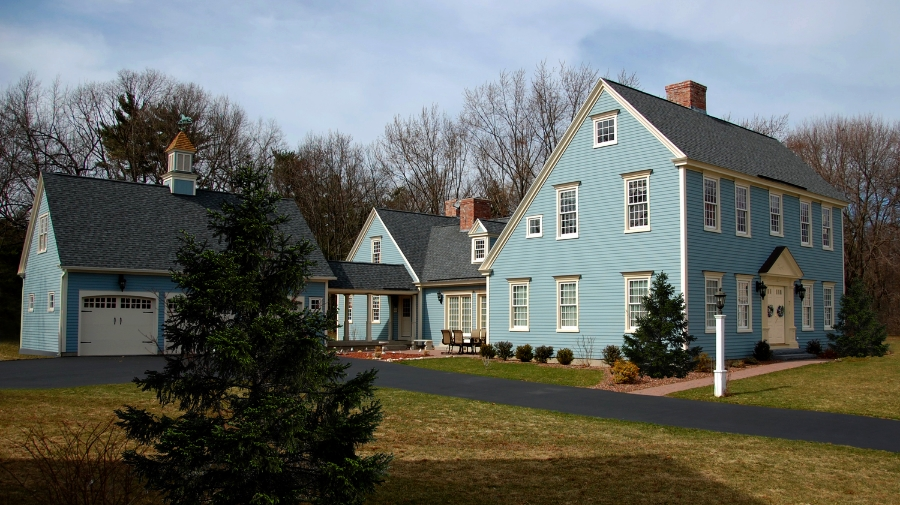 "Farmington Saltbox, painted in historic ""Meetinghouse Blue"""