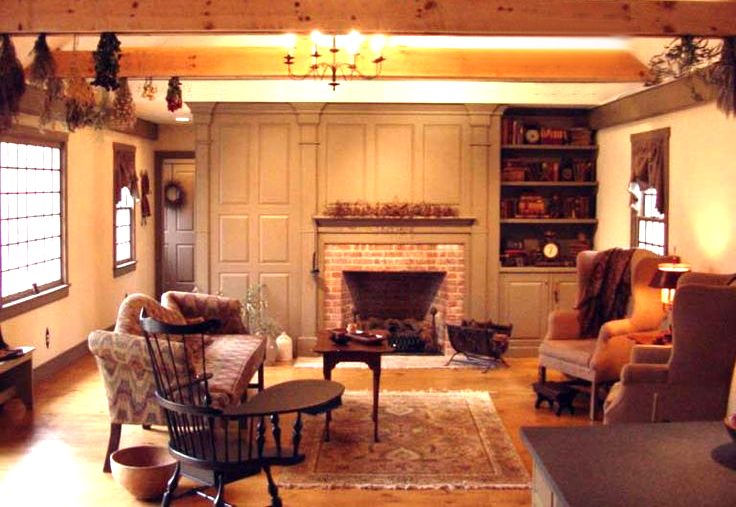 Classic Colonial Homes Interior Living Room Exposed Beams