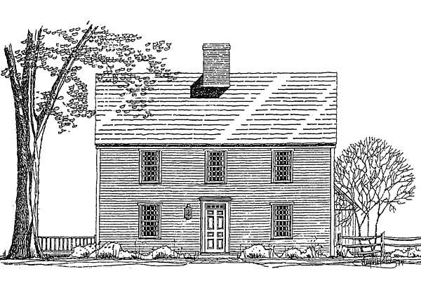 The early saltbox one colonial exterior trim and siding for Colonial saltbox house plans