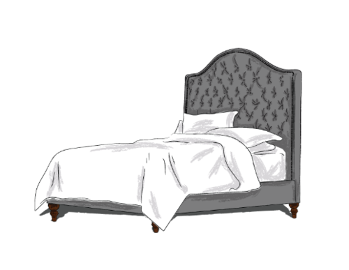 (Above: Samples of our custom wallpapers. A full selection is available in store.Right: An artist's rendition of our custom made headboards)