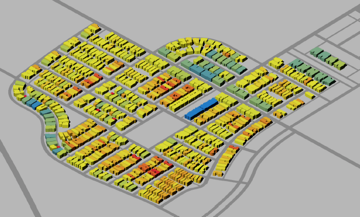In-progress operational energy simulation of a neighborhood in Austin, TX.