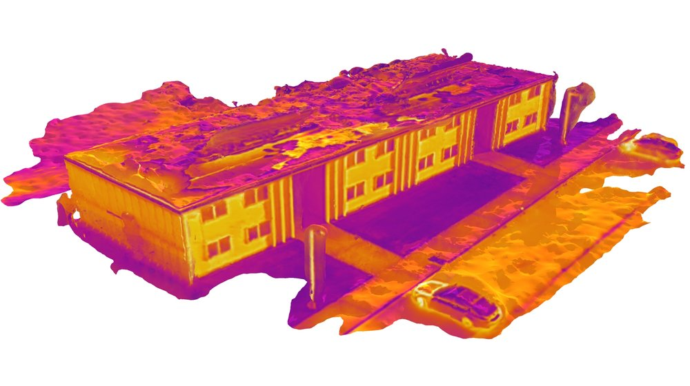 "Constructed 3D model using IR images in the design environment of Rhino3D. Rakha, T., Liberty, A., Gorodetsky, A., Kakillioglu, B. and Velipasalar, S. (2018) ""Heat Mapping Drones: An Autonomous Computer Vision-based Procedure for Building Envelope Inspection using Unmanned Aerial Systems (UAS),"" Technology I Architecture + Design (In Press)."