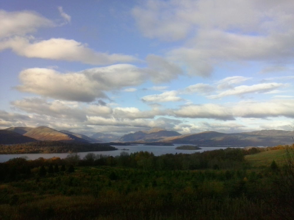A view across Loch Lomond with Ben Lomond rising up in the distance
