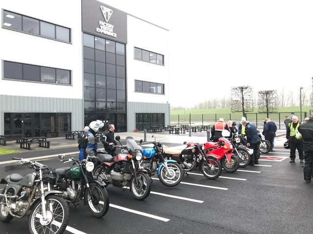Inclement weather but 17 of us enjoyed the Wrinkly Run to the new Triumph Factory Visitor Experience in Hinckley.