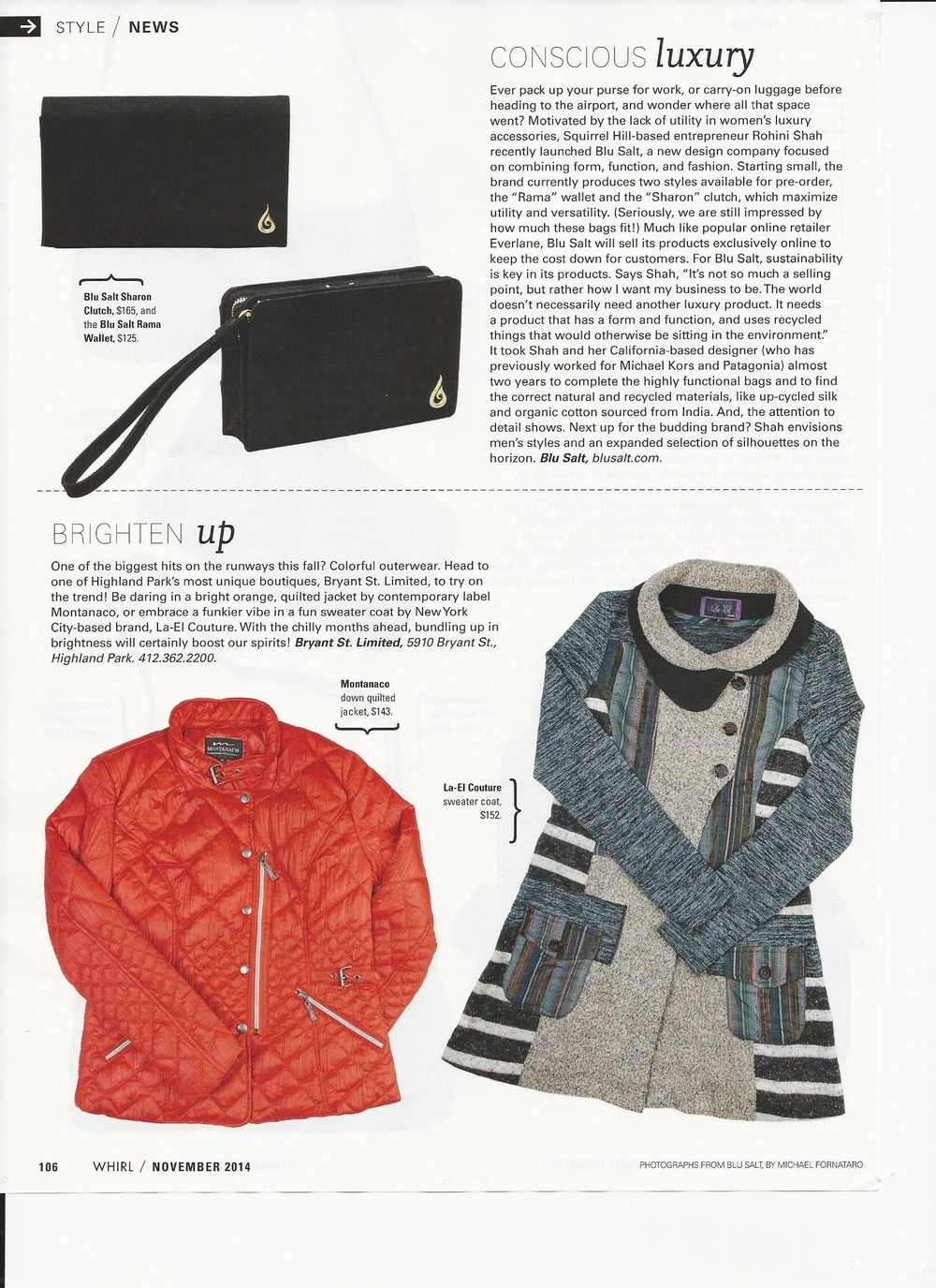 "Whirl Magazine's Style News loves our new line - check out their review in ""Conscious Luxury"""