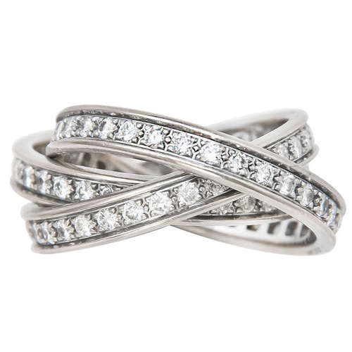 Cartier White Gold Diamond Trinity Ring N Green And Sons