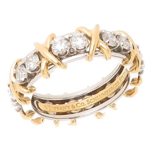 984e0eb18 Tiffany & Co. Schlumberger Platinum Diamond X Ring — N. GREEN AND SONS