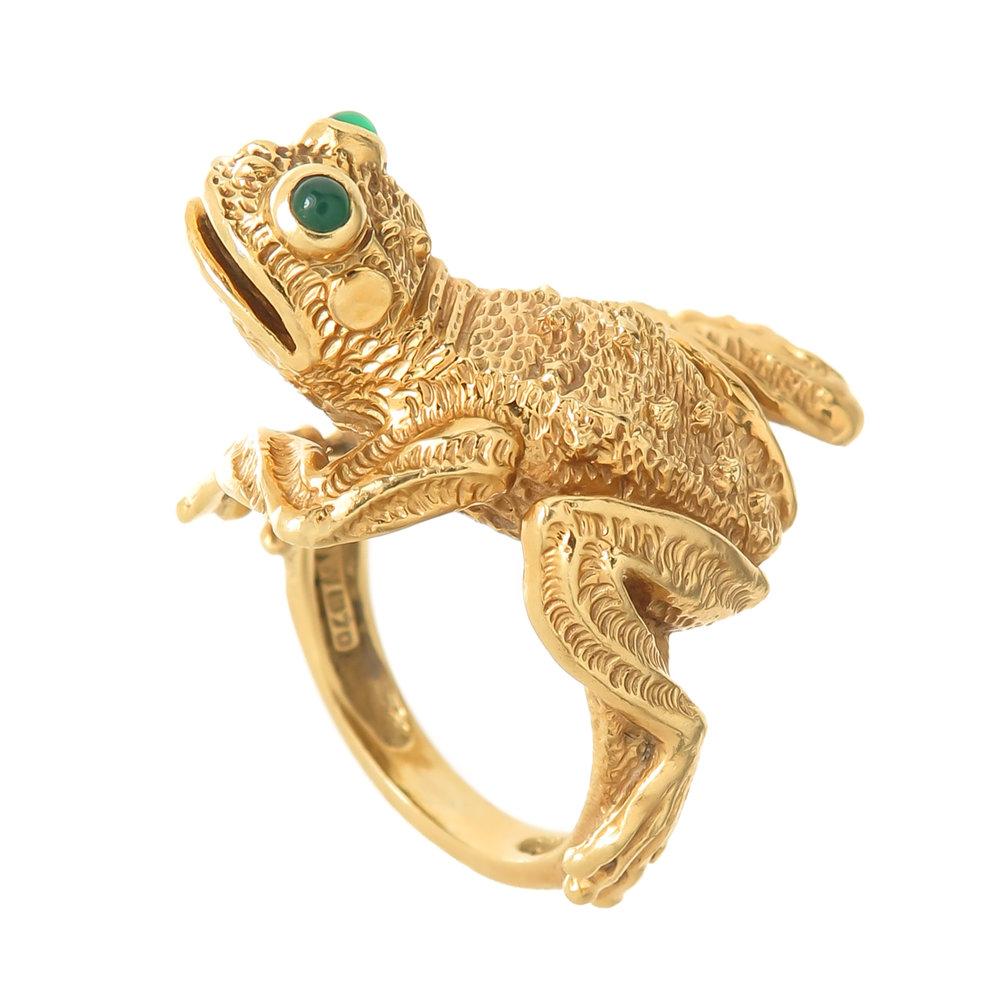 1990s Kurt Wayne Gem Set Gold Frog Brooch N GREEN AND SONS