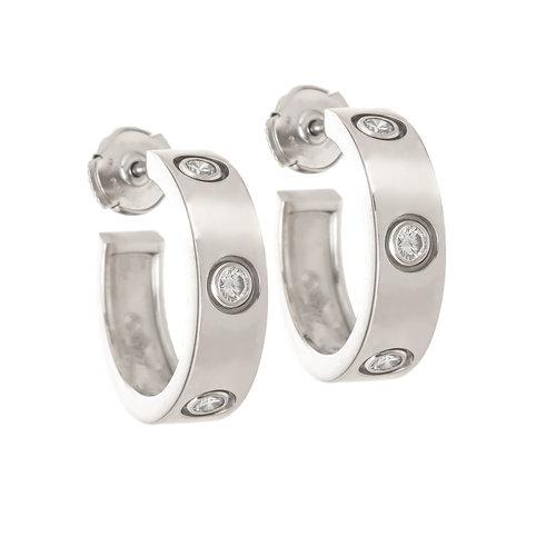9dbc2677b49 Cartier Classic Love Hoop Diamond White Gold Earrings — N. GREEN AND ...