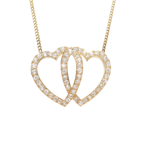 Victorian gold and diamond double heart pendant necklace n green victorian gold and diamond double heart pendant necklace mozeypictures Image collections