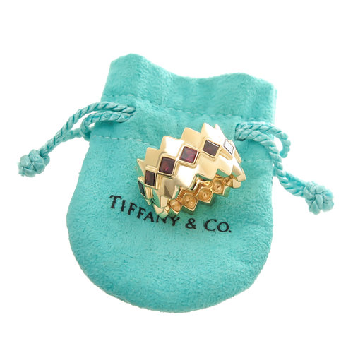tiffany co yellow gold and garnet wide band ring n green and sons