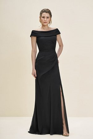 One of our beautiful off the shoulder Jade Couture dresses. Available to order in a variety of colors and sizes.