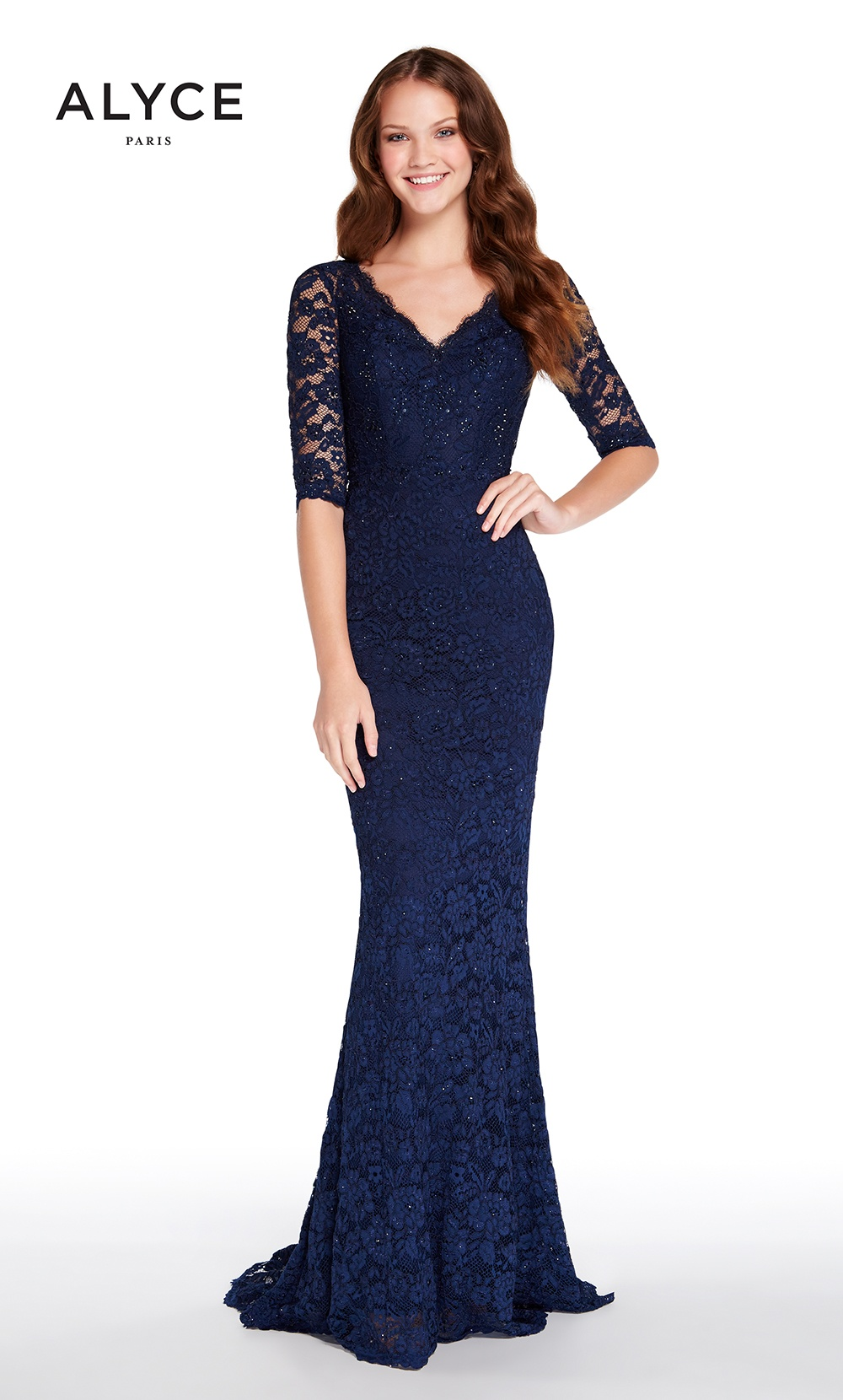 We adore this lace fit-and-flare dress we have in stock by Alyce!Available to order in a variety of colors and sizes.